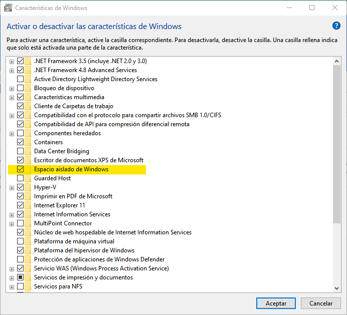 Activar Windows Sandbox