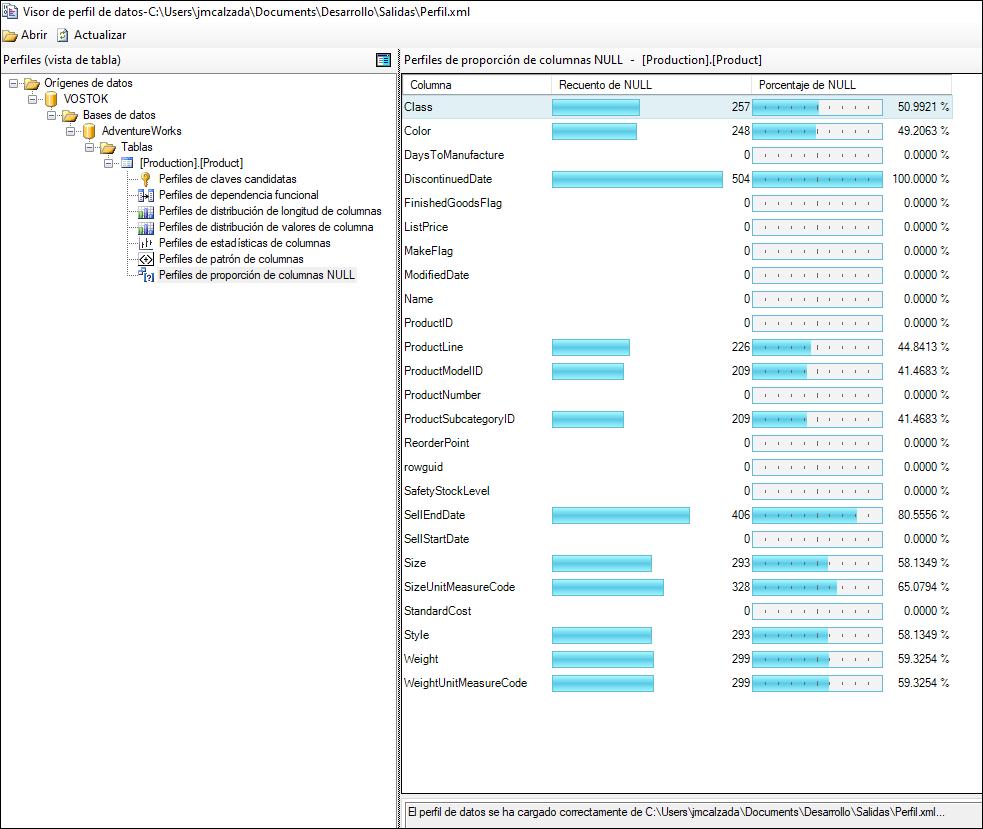 Visor Data Profile Viewer en vez de obtener perfiles de datos por código T-SQL